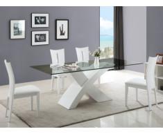 Essgruppe Hollis: Esstisch + 4 Stühle - Weiß