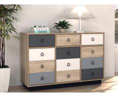 Kommode KRYPTON - 3 Schubladen & 3 Türen - Eiche, Grau & Weiß
