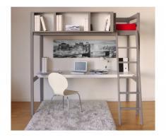 Hochbett mit Schreibtisch GIACOMO + Lattenrost - 90x190cm