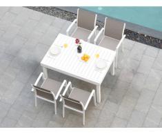 Garten Essgruppe PAHOA - Ausziehbarer Tisch & 4 Stühle - Weiß