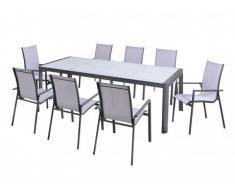 Garten Essgruppe Aluminium SAMAXI: Ausziehbarer Tisch 180/240cm + 8 Sessel