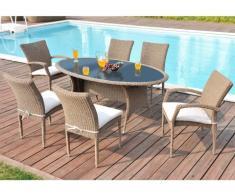 Polyrattan Essgruppe Whiteheaven: Tisch + 6 Sessel - Karamell