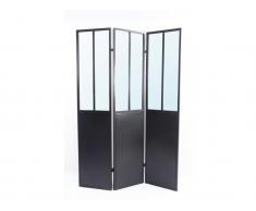 Paravent Raumteiler Spiegel COVENTRY - Industrie-Stil - Metall - Schwarz