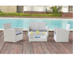 Polyrattan Lounge Sitzgruppe Arequipa (4-tlg.) - Weiß