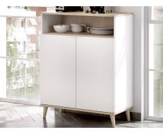 Küchenschrank WAJDI - 2 Türen & 1 Ablage - Weiß & Eiche