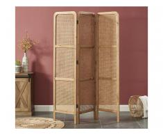 Paravent Raumteiler Ethno-Stil TELIE - Rattan & Bambus - B. 135 x H. 180 cm