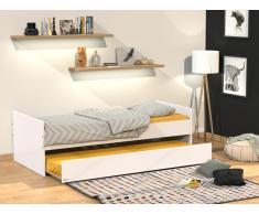 Kinderbett mit Bettkasten Nolan - Ausziehbar - 90x190cm - Weiß