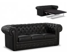 Chesterfield Ledersofa Schlafsofa mit Matratze London - Standardleder