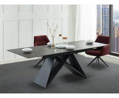 Esstisch ausziehbar LIBSY - Keramik & Metall - Schwarz