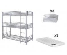 Sparset Kinderzimmer: Etagenbett ELOUAN - 3 x 90 x 190 cm - Grau + 9 Bettwaren