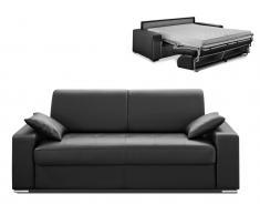 Schlafsofa 3-Sitzer Express Bettfunktion mit Matratze Emir - Schwarz