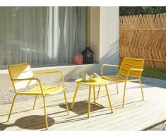 Garten Sitzgruppe Metall MIRMANDE - 2 Sessel & Beistelltisch - Gelb