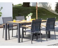 Garten Essgruppe VAIAKU - Tisch & 4 Stühle - Anthrazit