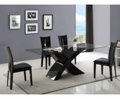 Essgruppe Hollis: Esstisch + 4 Stühle - Schwarz
