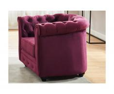 Chesterfield Sessel Samt ANNA - Pflaume