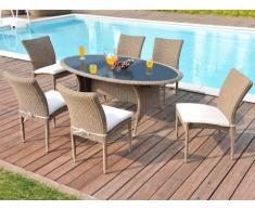 Polyrattan Essgruppe Whiteheaven: Tisch + 6 Stühle - Karamell