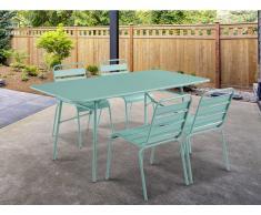 Garten Essgruppe MIRMANDE - Tisch L. 160 cm & 4 Stühle - Grün