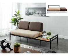 2-Sitzer Schlafsofa Stoff mit Couchtisch BALEA - Beige/Grau