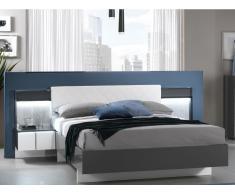 Polsterbett mit 2 LED-Nachttischen CONSCIENCE - 160x200cm - Grau