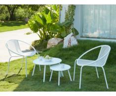 Garten Sitzgruppe Metall NAJAC - 2 Sessel & 2 Beistelltische - Weiß