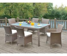 Polyrattan Essgruppe Alanda: Tisch + 2 Sessel + 4 Stühle - Karamell & Creme