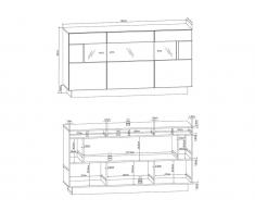 Sideboard mit LED-Beleuchtung BLAKE - 3 Türen
