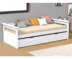 Ausziehbett ALFONSO - 90x190cm - MDF & Tanne - Weiß