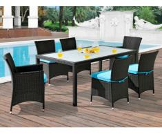 Polyrattan Essgruppe Alanda: Tisch + 2 Sessel + 4 Stühle - Wenge & Türkis