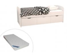 Bett LOUANE - 3 Schubladen - 90 x 190 cm - Weiß + Matratze