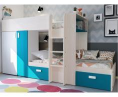 Etagenbett mit Kleiderschrank JULIEN - 2x90x190cm - Eichenfarben/Blau