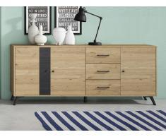 Sideboard PORTLAND - 3 Schubladen & 3 Türen - Eiche & Schwarz