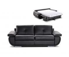 Schlafsofa mit Matratze 3-Sitzer ORGULLOSA II - Luxusleder - Schwarz