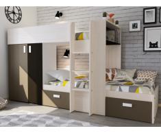 Etagenbett JULIEN + Lattenrost - 2x90x190cm - Weiß&Braun