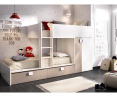 Etagenbett mit Kleiderschrank JUANITO - 2 x 90 x 190 cm - Weiß, Eiche & Taupe