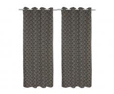 Vorhang Art Déco 2er-Set AGATHE - 140x260 cm - Grau