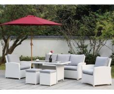Garten-Sitzgruppe MOOREA - Polyrattan - Sofa, 2 Sessel, 2 Hocker & Tisch - Weiß