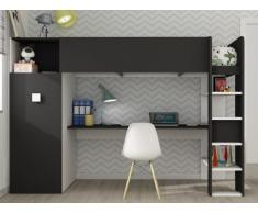 Hochbett mit Schreibtisch & Kleiderschrank TOBIE - 90x200cm