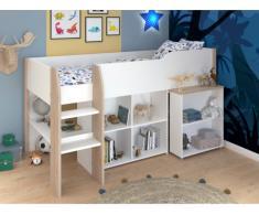 Hochbett mit Schreibtisch & Stauraum MARIA - 90 x 200 cm - Weiß & Eichefarben