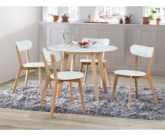 Sparset Essgruppe COLETTE : Tisch rund + 4 Stühle - Weiß