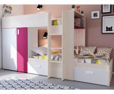 Etagenbett Julien - 2x90x190cm - Taupe & Fuchsia