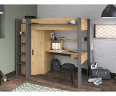 Hochbett AUCKLAND mit Schreibtisch & Kleiderschrank - 90 x 200 cm - Eiche & Anthrazit