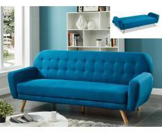 Schlafsofa Klappsofa 3-Sitzer Stoff LELIO - Blau