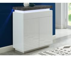 Highboard mit LED-Beleuchtung HALO - 2 Türen - Weiß & Beton-Optik