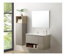 Komplettbad KLADE - Unterschrank + Waschbecken + Spiegel + Regal - Taupe lackiert