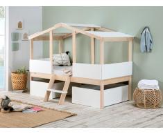 Kinderbett Hausbett mit Schubladen VASCO - 90 x 190 cm - Kiefernholz - Naturfarben/Weiß