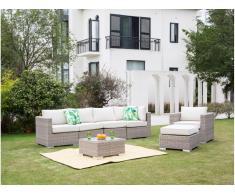 Garten-Sitzgruppe modulierbar BUSAN - Polyrattan: 4-Sitzer-Sofa, Sessel, Hocker & Beistelltisch