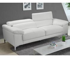 3-Sitzer Ledersofa SOLANGE - Weiß