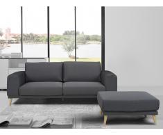 3-Sitzer Stoff mit Sitzhocker MACEO - Grau