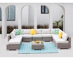 Garten-Sitzgruppe modulierbar BUSAN - Polyrattan: 7-Sitzer-Sofa, 2 Hocker & Beistelltisch