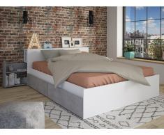 Bett mit Stauraum FRANK - 140x190 cm - Weiß & Beton-Optik